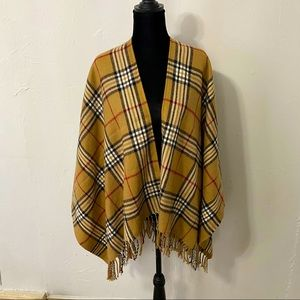 Tan plaid blanket scarf Burberry style